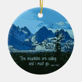 Mountain Peaks digital art - John Muir quote Christmas Ornament
