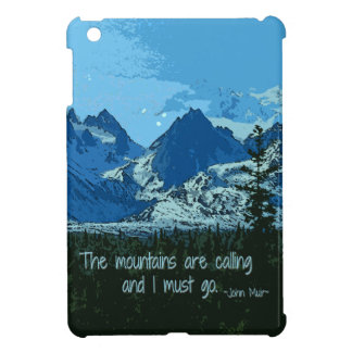 Mountain Peaks digital art - John Muir quote iPad Mini Case