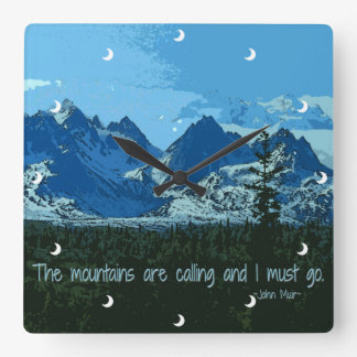 Mountain Peaks digital art - John Muir quote Square Wall Clock