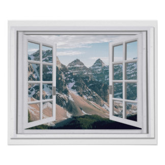 Mountain Peaks View Fake Window Poster
