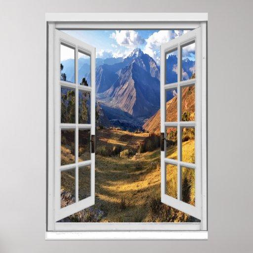 Mountain Peaks View Trompe l'oeil Fake Window Poster