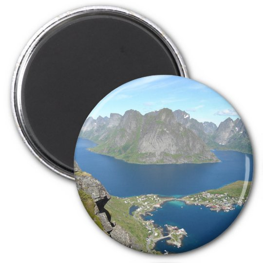 Mountain points 6 cm round magnet