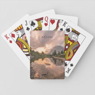 Mountain Pond custom monogram playing cards