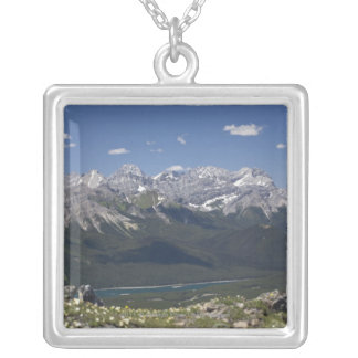 Mountain Range And Lake From On Top Of A Mountain Silver Plated Necklace