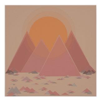 Mountain range in rocky landscape in searing heat