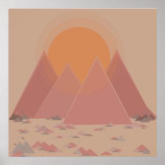 Mountain range in rocky landscape in searing heat poster