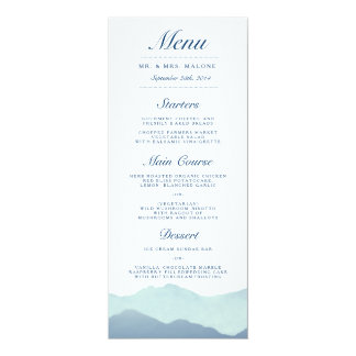 Mountain Range Wedding Dinner Menu Card