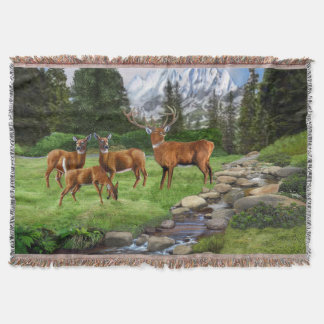 Mountain Red Deer Safari Throw Blanket