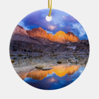 Mountain reflection, California Round Ceramic Decoration