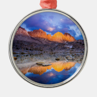 Mountain reflection, California Silver-Colored Round Decoration