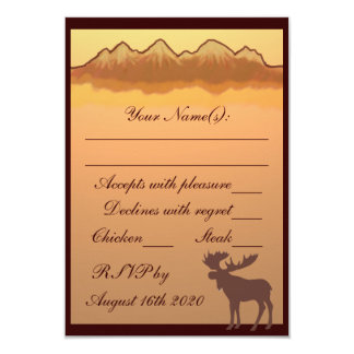 Mountain reflections brown moose RSVP cards Personalized Invite