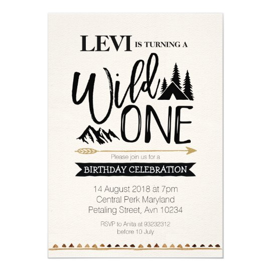 Mountain rustic wild one Birthday invitation