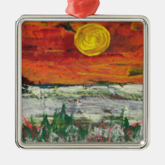 mountain scene christmas ornament