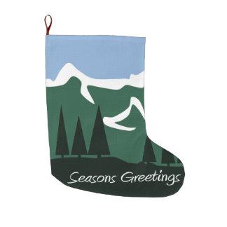 Mountain Seasons Greetings Large Christmas Stocking