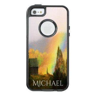 Mountain shed with rainbow add name OtterBox iPhone 5/5s/SE case