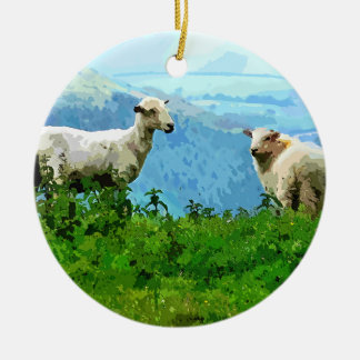 MOUNTAIN SHEEP ROUND CERAMIC DECORATION