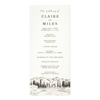 Mountain Sketch Wedding Ceremony Program Rack Card