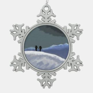 mountain snow Christmas snowflake ornament