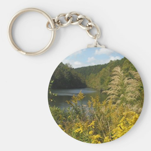 Mountain Stream becomes Lake with wild flowers Keychain