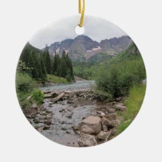 Mountain Stream - Maroon Bells Round Ceramic Decoration
