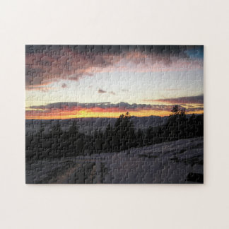 Mountain sunset in winter jigsaw puzzle