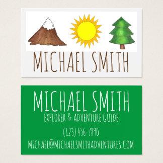 Mountain Sunshine Pine Tree Camping Woods Explorer Business Card