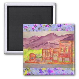 mountain town watercolour sketch drip square magnet