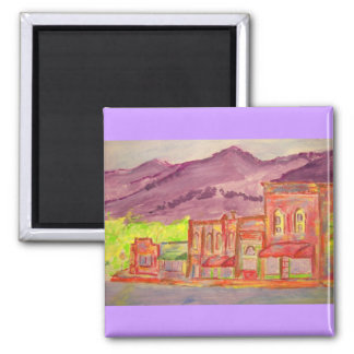mountain town watercolour sketch square magnet