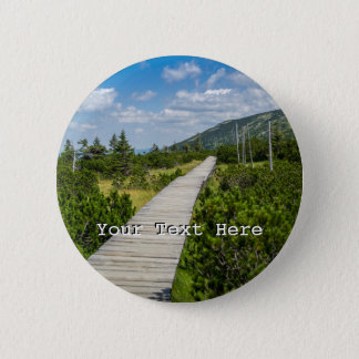 Mountain Tundra Wooden Path Landscape 6 Cm Round Badge