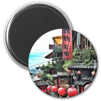 Mountain village and Chinese teahouse 6 Cm Round Magnet