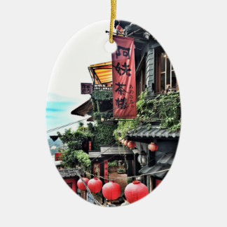 Mountain village and Chinese teahouse Ceramic Oval Decoration