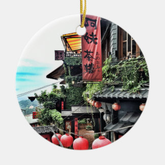 Mountain village and Chinese teahouse Round Ceramic Decoration