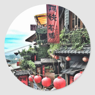 Mountain village and teahouse classic round sticker