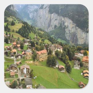 Mountain village, Jungfrau region Square Sticker