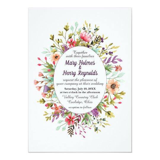 Mountain Wildflowers Watercolor Wedding Invitation