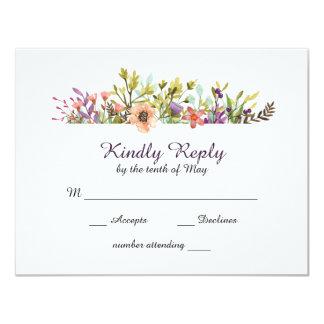 Mountain Wildflowers Watercolor Wedding RSVP Card