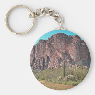 Mountain with saguaro basic round button key ring