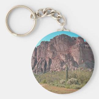 Mountain with saguaro basic round button key ring