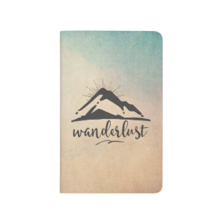 Mountain with Sunrays and Wanderlust Typography Journal