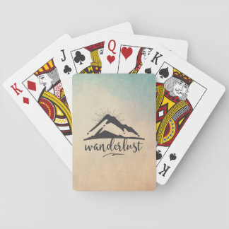 Mountain with Sunrays and Wanderlust Typography Playing Cards