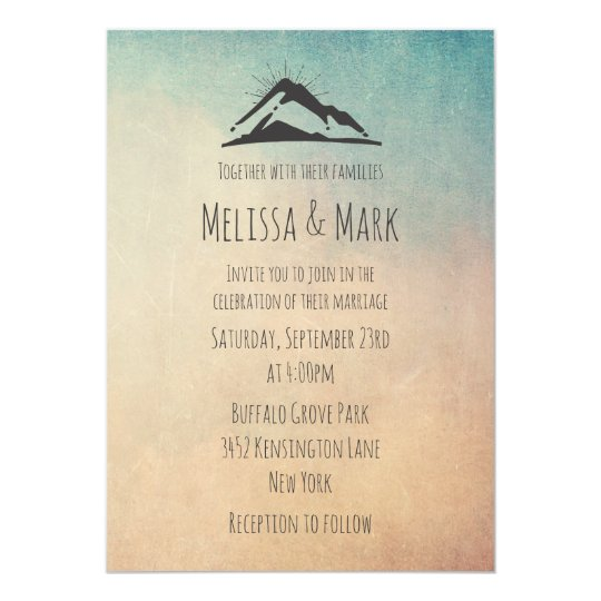 Mountain with Sunrays Casual Wedding Invite