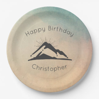 Mountain with Sunrays Happy Birthday Paper Plate