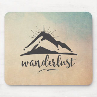Mountain with Sunrays - Wanderlust Typography Mouse Mat
