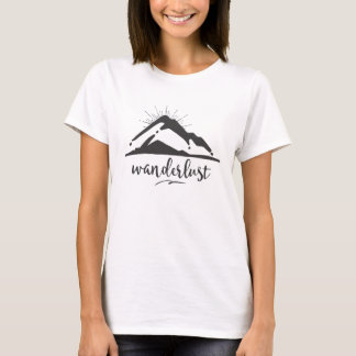 Mountain with Sunrays - Wanderlust Typography T-Shirt