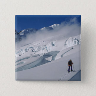 Mountaineer on the Tasman Glacier in Mount 15 Cm Square Badge