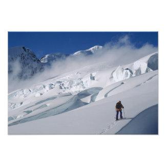 Mountaineer on the Tasman Glacier in Mount Photo Art