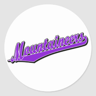 Mountaineers in Purple Round Stickers