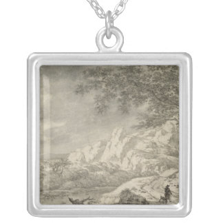 Mountainous Landscape with a Hiker Silver Plated Necklace