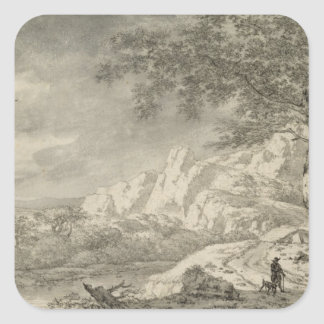 Mountainous Landscape with a Hiker Square Sticker