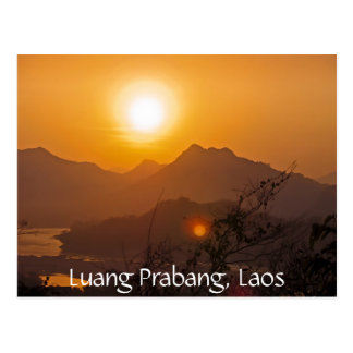 Mountainous Laos Sunset Postcard